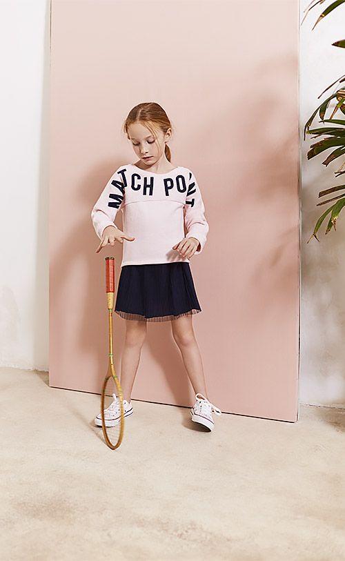 Match Point - Look fille sweat rose et jupe plissée Printemps-Eté 2017 collection IKKS Kid Girl #ss17 #kidstyle