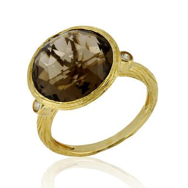 8.45 ct Ladies Smokey Topaz & Diamond Ring in 14k Yellow Gold.
