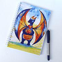 Macival játszó sárkány spirálfüzet #füzet #design #művészet #akvarell