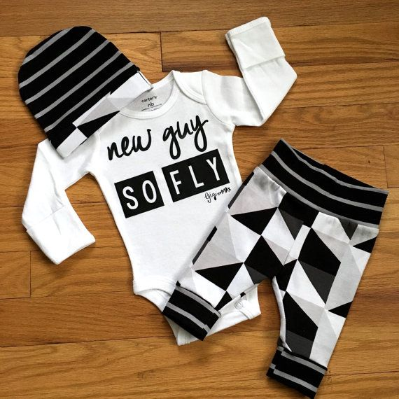 Newborn Baby coming home outfit - New Guy So Fly black and gray triangle theme - boy going home set hello world, baby shower gift, coming h