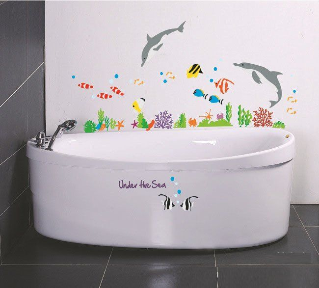Creative Household Decor Removable Waterproof Sticker Bathroom Stickers  Under The Sea Cartoon Fishes Wall Decals For