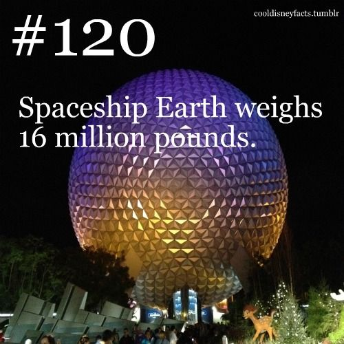 Spaceship Earth weighs 16 million pounds. Again. Kinda makes me want to never walk under it.
