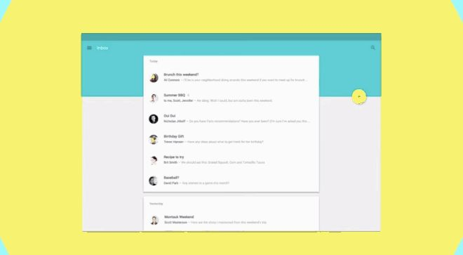 Material Design: Animations and colors are used to highlight actions in the UI on touch  http://www.wired.com/2014/06/the-big-ideas-behind-androids-awesome-new-design-language/