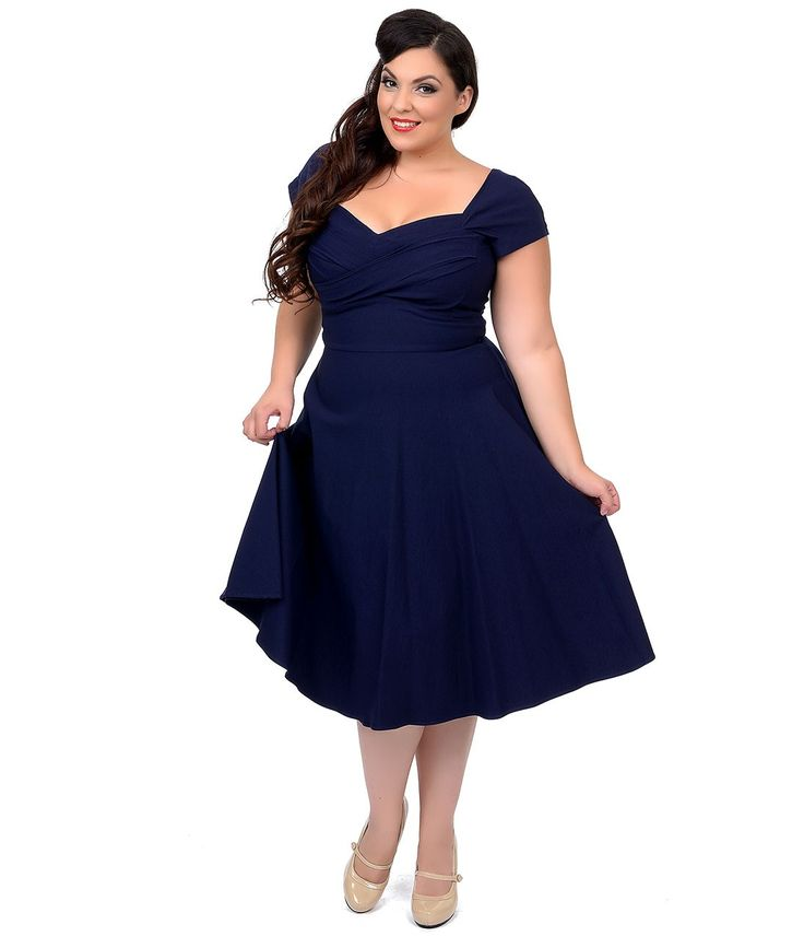 Stop Staring! Plus Size Mad Style Navy Cap Sleeve Swing Dress