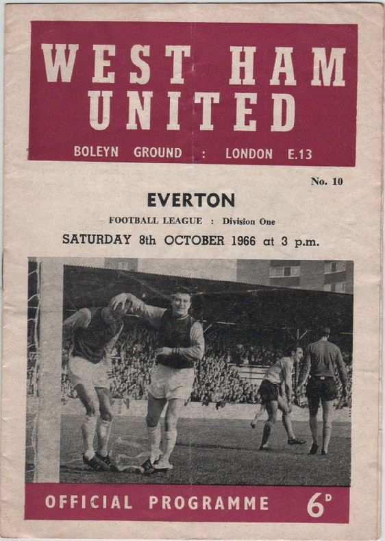 Vintage Football (soccer) Programme - West Ham United v Everton, 1966/67 season