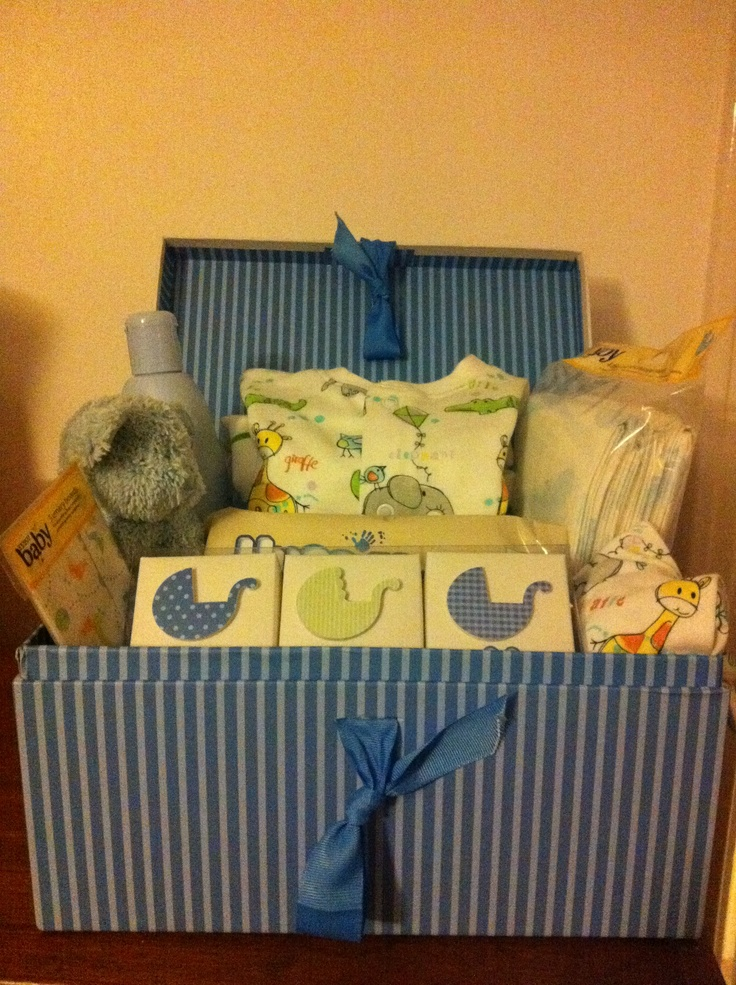 Another baby boy! This time the present was a box filled with goodies including a baby sleepsuit and matching hat, rattle, baby nail files, baby wipes and lotion.