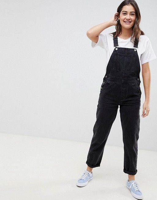 3d0e0ccf217 DESIGN denim overall in washed black in 2019