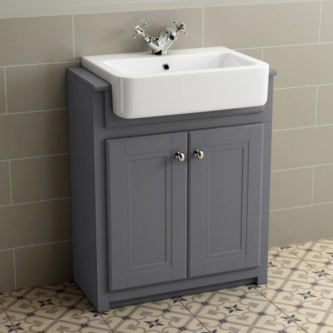 667mm Cambridge Midnight Grey Floorstanding Basin Vanity Unit - soak.com