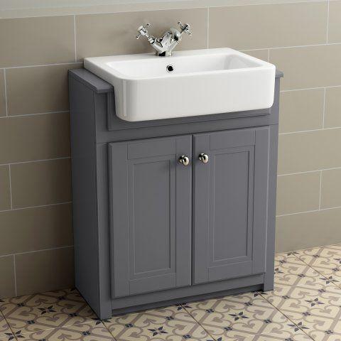 667mm Cambridge Midnight Grey Floorstanding Basin Vanity Unit - soak.com