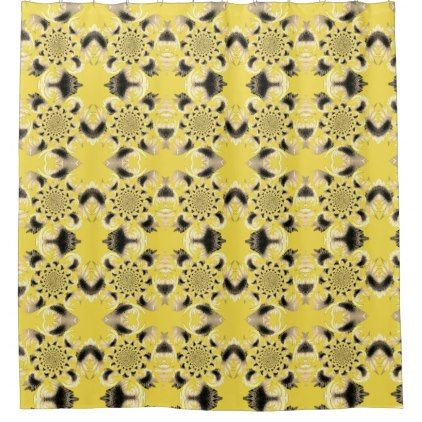 Tan Morphed Sunflower accent Yellow Shower Curtain - shower curtains home decor custom idea personalize bathroom