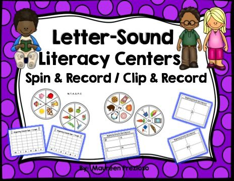 Letter-Sound Literacy Centers Spin & Record and Clip & Record Centers that help students make the letter sound connection.