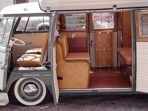 Hard to tell from the photo, but I'm pretty sure this is a double door, split-window, Dormobile Volkswagen camper.