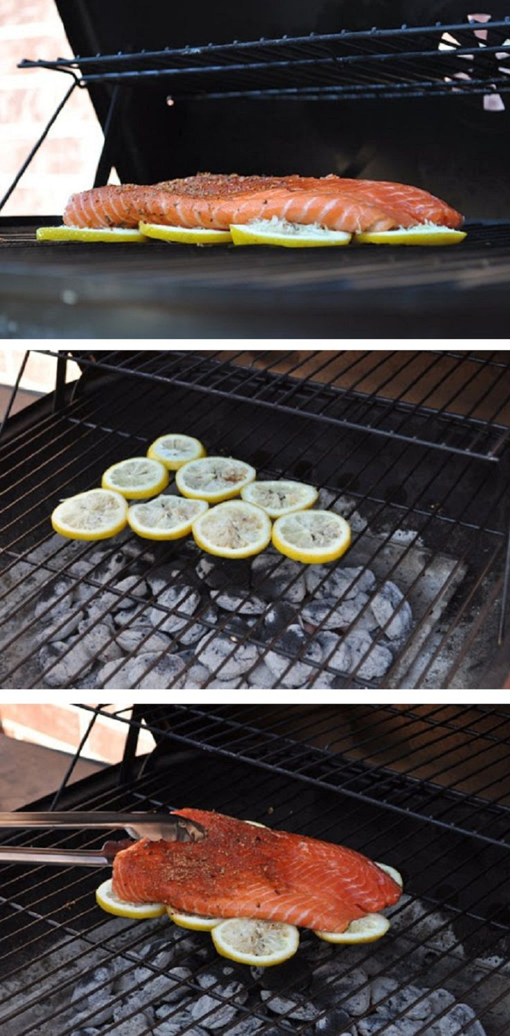 Fish on Lemon. Genius because it won't stick to the grill and will give flavor