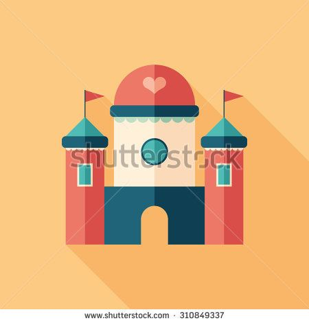 Toy baby magic castle flat square icon with long shadows. #homeinterior #homefurniture #flaticons #vectoricons #flatdesign