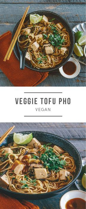 Bok choy, shiitake mushrooms, onions, and garlic are simmered in an umami-rich broth. Seasoned with pho spices  ginger, anise, coriander, and cloves  the flavorful soup is bulked up with sprouted tofu and hearty udon noodles. Cilantro and a squeeze of l
