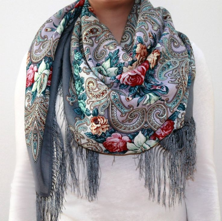 The Mystery of the Heart, silver - Woolen shawl/scarf - Large
