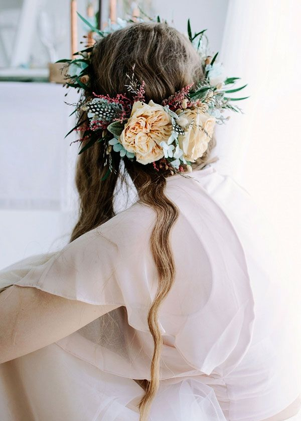 Loose and Wild Cascading Waves Bridal Hair Style with Bohemian Flower Crown