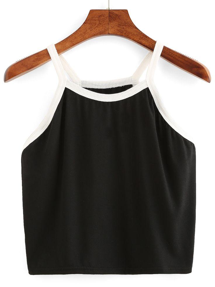 Cami Top Crop negro con dobladillo blanco-Spanish SheIn(Sheinside)
