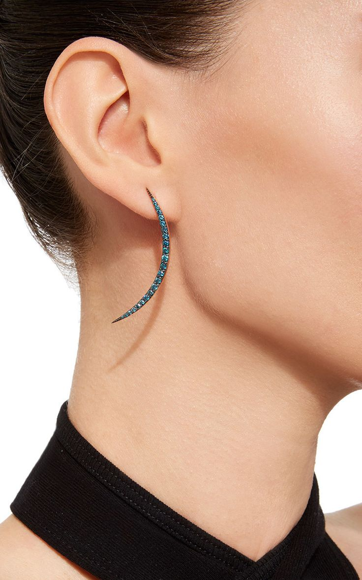 The New Moon Blue Diamond Right Earring By Bee Goddess  Moda Operandi