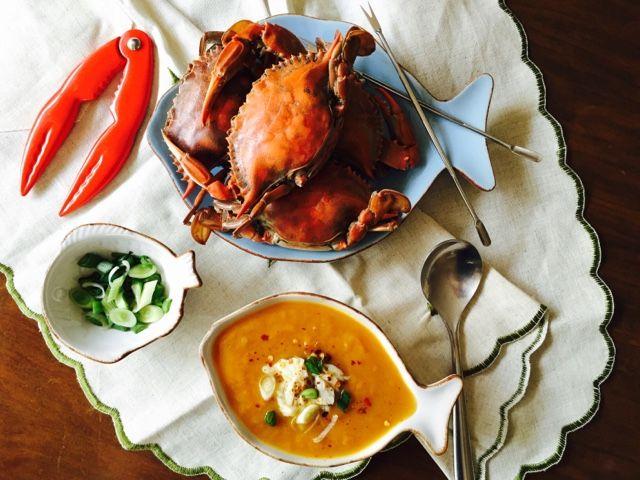Crab and sweet potato soup