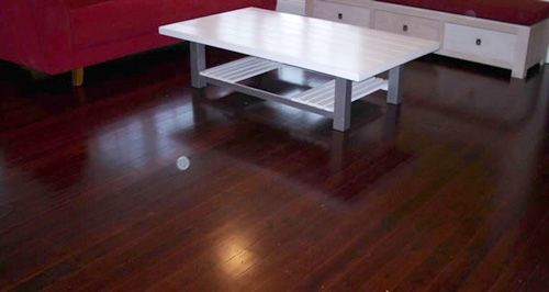 Cypress pine floor jarrah stain semi gloss polyurethane finish