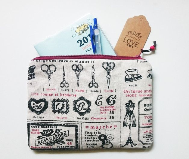 Pouches & Pencil Cases – Fully Lined Haberdashery Pencil Makeup Pouch – a unique product by gooseygoosey on DaWanda