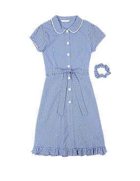 Blue cotton gingham school dress
