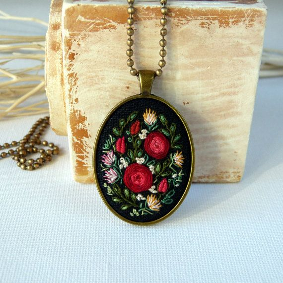 Rustic necklace Oval pendant Embroidered by EmbroideredJewerly