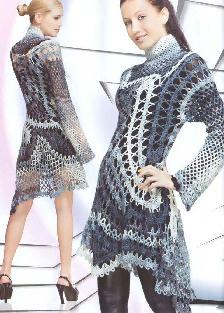 Crochet Flower Patterns Dresses Womens Lace Dress Top -5354