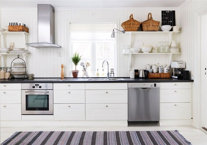 spacious country kitchen with IKEA Ädel furniture