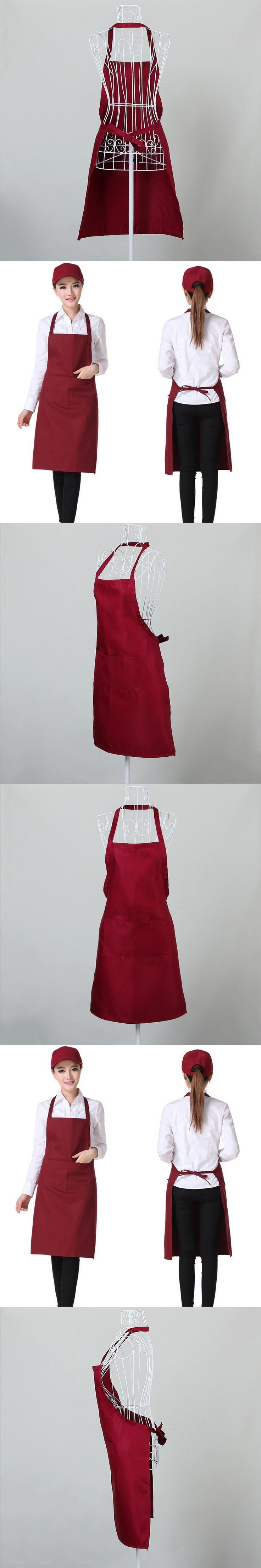 Adult Bib cotton Apron for Home Restaurant BBQ Waiter Chef Apron Kitchen Cooking With 2 Pockets Sleeveless Cooking Work Aprons