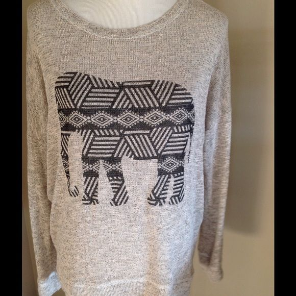 Elephant Sweater Light weight cream colored sweater with elephant Sweaters Crew & Scoop Necks