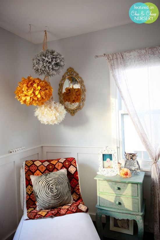 17 best images about pom poms on pinterest paper pom for Hanging pom poms from ceiling