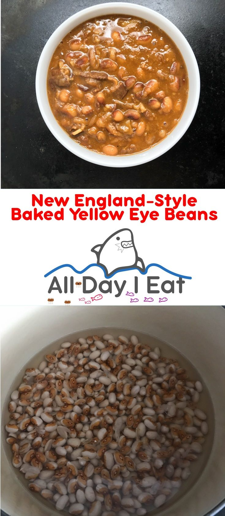New England-Style Baked Yellow Eye Beans! These heirloom beans are warm, hearty and savory. A comforting preparation that is complex and not too sweet! | www.alldayieat.com