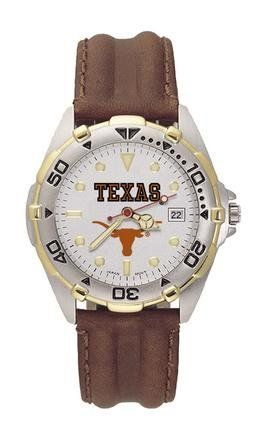 Texas All Star Mens (Leather Band) Watch by Logo Art. $87.72. This luxurious wristwatch features a brushed chrome finish, brass case with gold tone accents on a rotating bezel, leather strap, raised luminous hour marks, date window and mineral glass crystal. Water resistant to 100 feet, use a Quartz movement, feature tin gift box packaging, and carry a 2-year manufacturer's warranty on watch and battery
