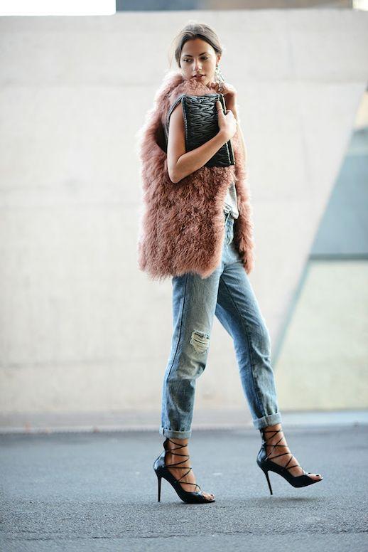 dusty rose fur vest, clutch, boyfriend jeans & strappy heels #style #fashion