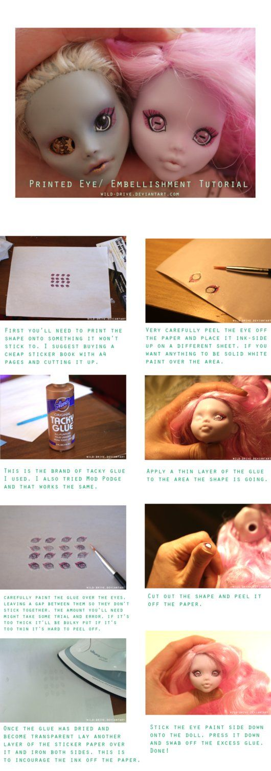 DIY How to transfer computer printed eyes to your doll.