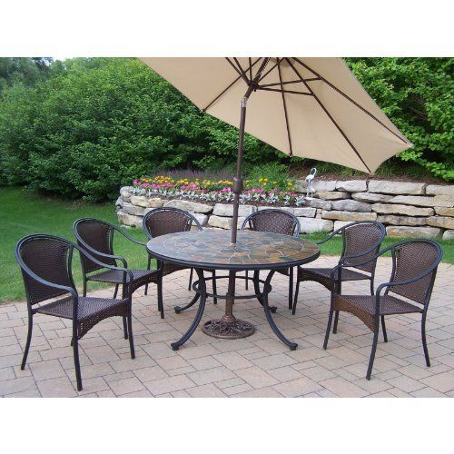 Tuscany Stone Art 7 Piece Dining Set Umbrella Color: Beige by Oakland Living. $2426.00. 90094-90079-S-4005-BG-4101-9-BK Umbrella Color: Beige Our stone art dining sets will be a beautiful addition to your patio, balcony or outdoor entertainment area. Stone art dining sets are perfect for any small space, or to accent a larger space. Lightweight and constructed of durable tubular iron, resin wicker and natural stone. This stone art dining set features a hardened po...