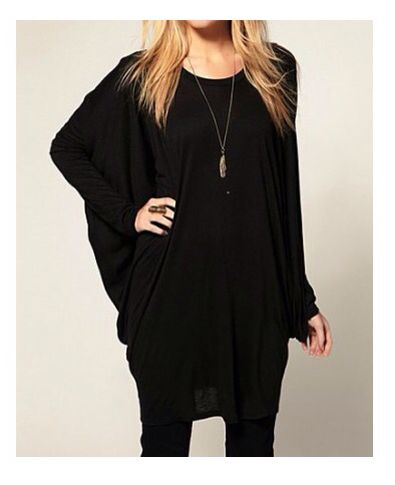 Black dolman sleeve long top