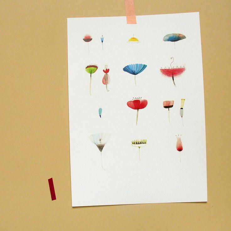 Květiny 1. Reprodukce akvarelové kresby. Tisk na matném papíru krémové barvy, 300 g/m, velikosti A4...