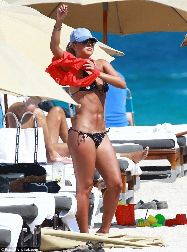 Sizzling: Vanessa Huppenkothen was spotted soaking up the sun on a Miami, Florida, beach o...