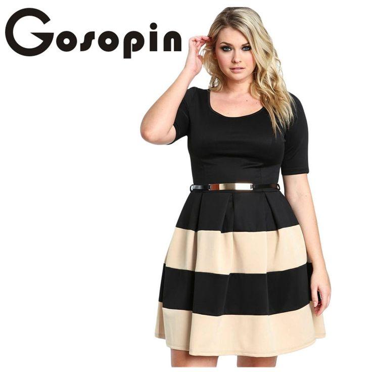 Gosopin Big Girl 3XL Casual  Autumn Short Sleeve Apricot Stripes Detail Belted Plus Size Skater Dress  Vestido de Festa LC22806