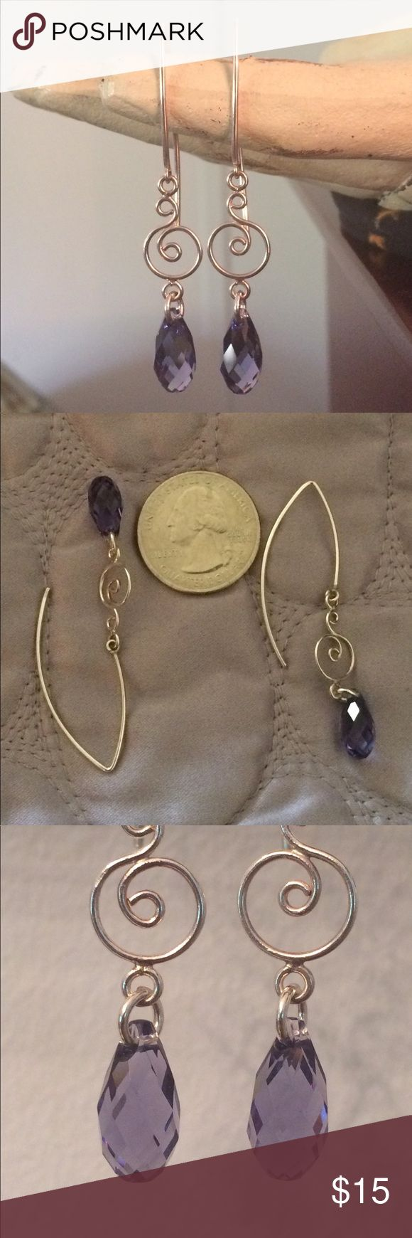 """Lavender Purple Faceted Crystal Sterling Earrings These faceted crystal & Sterling silver earrings are in used but very good condition. Total length is 2 3/16"""".  The crystal is a more lavender color which doesn't seem to show well in my photos and measures 1/2"""" long. Metal hand is for display purposes only. Jewelry Earrings"""