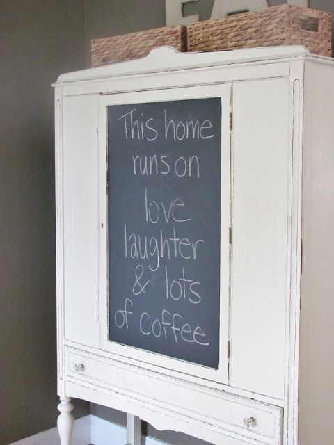 Chalkboard Contact Paper Hutch Makeover~ Create a Removable Chalkboard Surface. Brilliant
