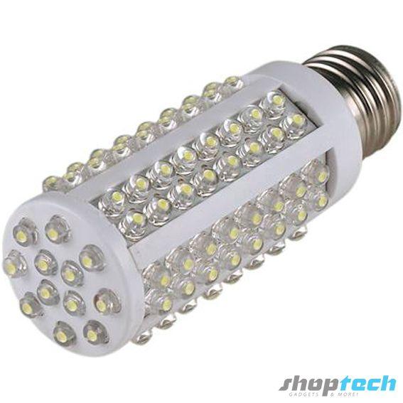 Foco ahorrador de 108 LED luz blanca. Ahorro de hasta un 90% de consumo energético y de larga duración. Socket E27 para roseta común de casa.