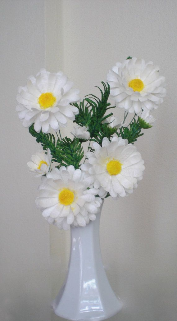 white daisies made of silk cocoon
