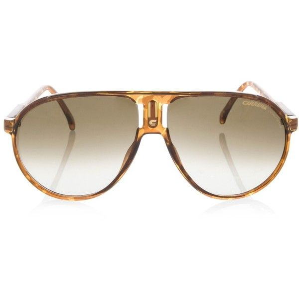 Carrera Brown Tortoiseshell Aviaitor Sunglasses - Women - Sale Items... ($94) ❤ liked on Polyvore featuring accessories, eyewear, sunglasses, glasses, tortoise shell sunglasses, tortoise shell glasses, carrera sunglasses, brown glasses and tortoiseshell glasses