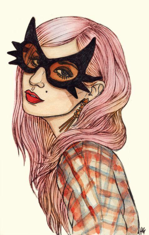 audrey kitching, artKitching Iii, Audrey Kitching Hair, Aude Kitching, Helen Green, Art Zi, Kitching Illustration, Masks Girls, Kitching Art, Cat Masks
