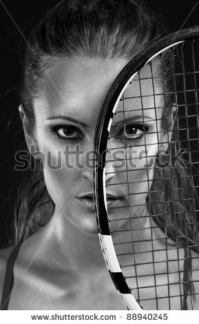 Monochrome Portrait Of Young Woman Tennis Player Stock Photo 88940245 : Shutterstock