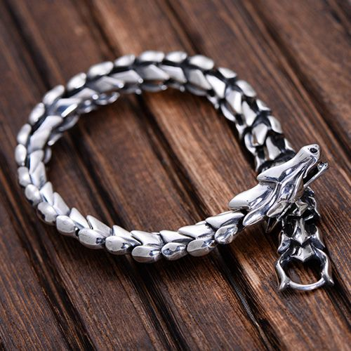 Men's Sterling Silver Dragon Chain Bracelet. It's badass.. Can't it be used by everyone though?